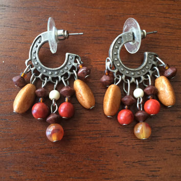 Vintage 70's Beaded Earrings