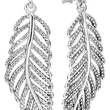Women's PANDORA 'Light as a Feather' Drop Earrings - Silver/ Clear