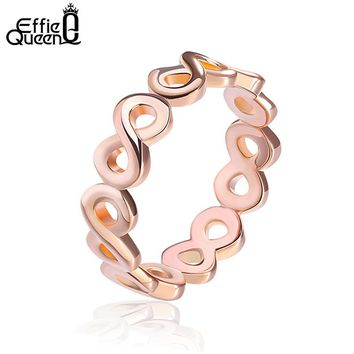 Effie Queen 2017 Simple Design Infinity Rings on Rose Gold Color Rings for Women Wedding Party Fashion Jewelry DR150
