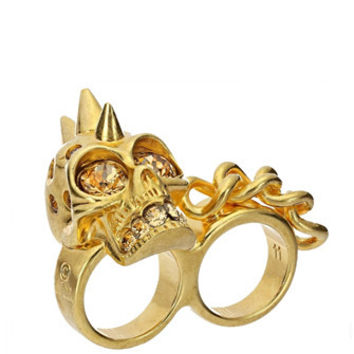 Alexander McQueen Chain Skull Punk Double Ring