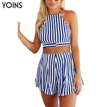 Women Summer Sexy Striped Halter Backless Crop Tops Shorts Jumpsuit Rompers Playsuit Co-ord Sets 2 Pieces
