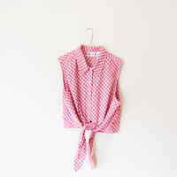checkerboard red knotted/tied CROP TOP, size L