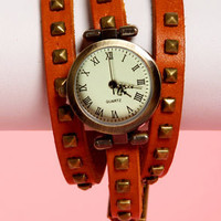 What Makes You Tick Tan Studded Wraparound Watch