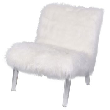 Prudence Faux Fur Chair, Freesia White