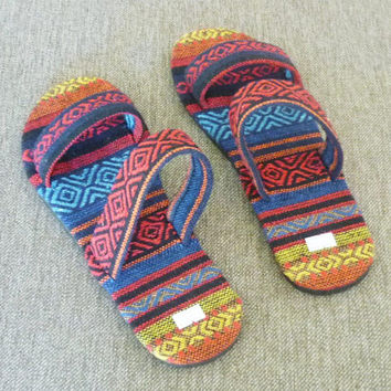Tribal sandals Ethnic shoes , hill tribe sandals House slippers ,unisex slippers ,slide sandals 520