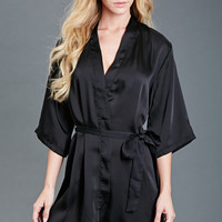 Lace-Paneled Satin Robe