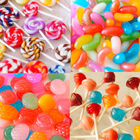 Candy Assortment 40pcs for Jelly Beans,Lollipop Candy,Drop, Food Cabochon,Deco parts of Clay (H214)/ スイーツデコ 4種のキャンディーアソート 40個入り