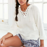 Ecote Lace-Up Hoodie Sweater - Urban Outfitters