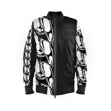 Black & White Tropical Chain Bomber Jacket