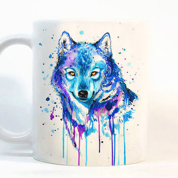Wolf coffee mug Wolf mug Watercolor Mug Gift mug Tea Cup, Gift for her, Gift for him, Printed mug, Ceramic mug