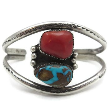 Navajo Turquoise and Coral Bracelet - Sterling Silver Cuff, Native American Jewelry Adjustable