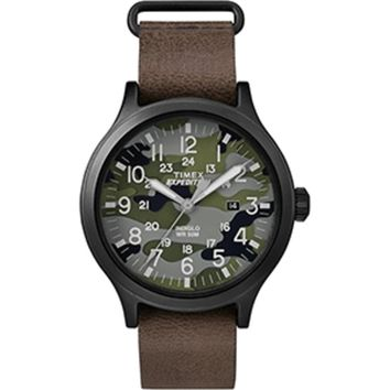 Timex Expedition® Scout 43 Watch - Camo Dial-Brown Leather