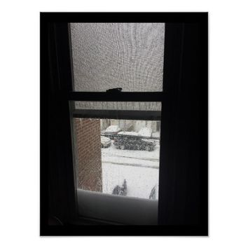 Frozen Window with Icicles Poster