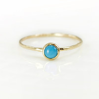 Melanie Casey- Turquoise and 14K Gold Stacking Ring
