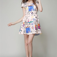 Printed Short Sleeve High Waist Pleated A-Line Mini Dress