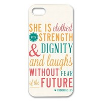 diycover iPhone 5 5S Case - Christian Theme - Bible Verse Proverbs 31:25 - Durable and lightweight Cover Case