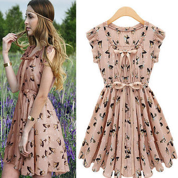Sweet Deer Print Chiffon Dress