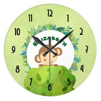 Cute Monkey Peeking Out from Behind a Bush Large Clock