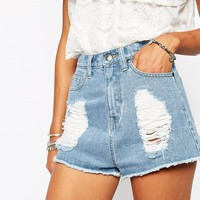 Missguided Distressed Ripped Denim Shorts