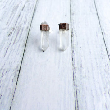 Raw crystal studs | Herkimer diamond earrings | Tibetan quartz point silver post earrings | Raw crystal stud earrings | Quartz post earrings