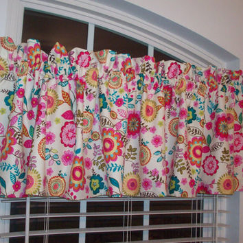 Custom Boutique Fuschia/Turquoise/light pink/beige Curtain Valance- for Kitchen, Bathroom, Laundry, Bedroom, living room - Window Treatments