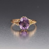 Natural Amethyst Gold Antique Solitaire Ring C 1890