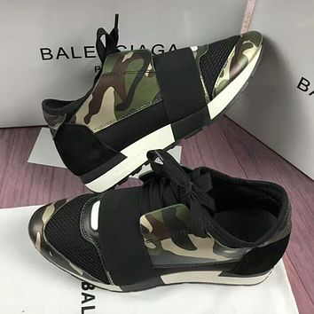 BALENCIAGA New Trending Women Men Casual Shoes Camouflage/Black I-OMDP-GD