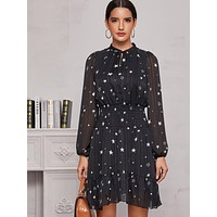 Star Print Flounce Hem Dress