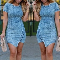 Blue Short Sleeve Asymmetrical Denim Dress