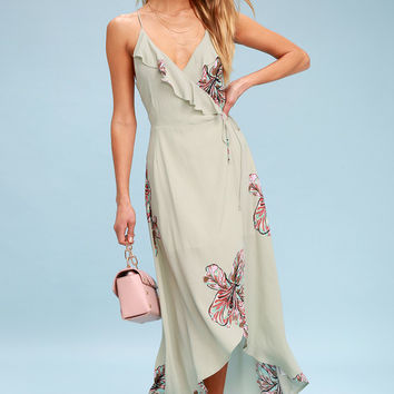 Alter Your Mood Sage Green Floral Print High-Low Wrap Dress