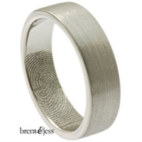 Platinum 6mm Wedding ring or Commitment Band with Single Fingertip Whorl Print on the Inside