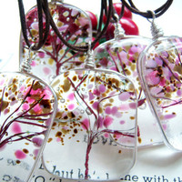 Tree of Life Fused Glass Pendant Cherry Blossoms A KarmaBeads Original