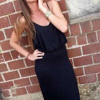 Black Ruffle Maxi | The Rage