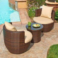 W Unlimited Perry Collection Outdoor Garden Dark Brown Wicker Conversational Furniture