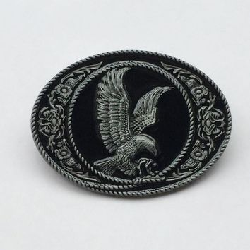 Silver Eagle Belt Buckle With Oval Metal Cowboy Belt Buckle 4cm wideth belt with continous stock