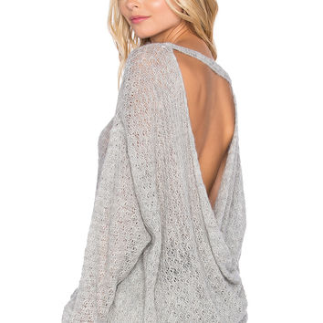 Free People Brandywine Drape Back Sweater in Heather Grey