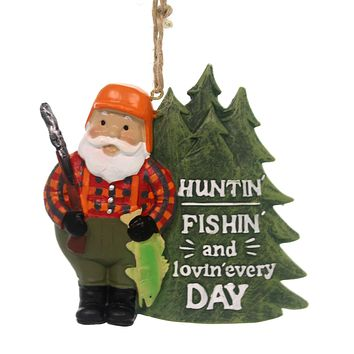 Holiday Ornaments HUNTIN' FISHIN' LOVING SANTA Polyresin Sports Sporting 146833