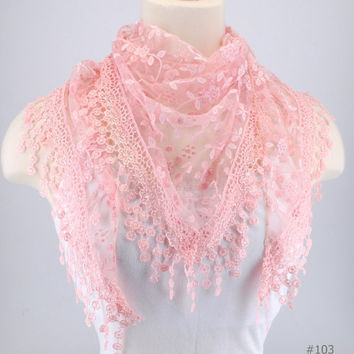 Light Pink Lace Fichu Metallic Silver Roses Scarf Shawl Cowl Triangle Sheer Fashion Lightweight Women Accessories by Creations by Terra