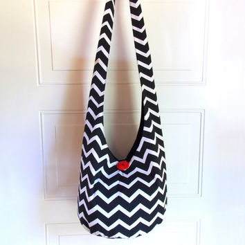 Chevron Hobo Bag, Sling Bag, Geometric, Black and White, Zigzag, Hippie Purse, Crossbody Bag