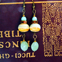 Mint Green Yellow Bohemian Lampwork Earrings Mint Green Boho Dangles Amber Glass Bead earrings Classic glass earrings Beach Summer jewelry