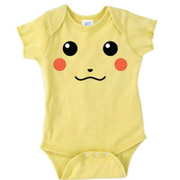 Inspired by Pikachu face Pokemon Onesuit new born to 24 months sizes very cute