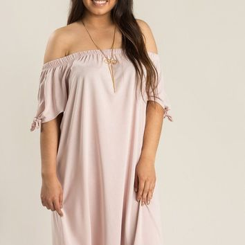 Plus Tammy Pink Off the Shoulder Shift Dress