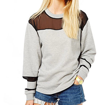 Grey Mesh Stripe Sweater