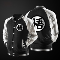 New Japanese Anime Dragon Ball Goku Varsity Jacket 2016 Autumn Fashion Black White Sleeve Fleece Baseball Jacket Sweatshirt Coat