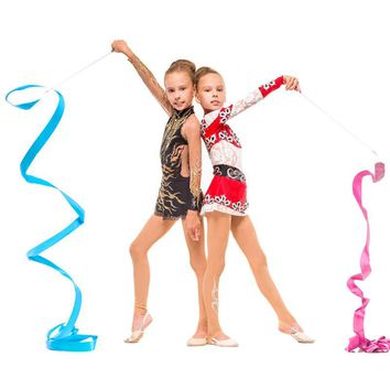 4M Gym Dance Ribbon Rhythmic Art Gymnastic Ballet Streamer Twirling Rod Stick For Gym Training BB55