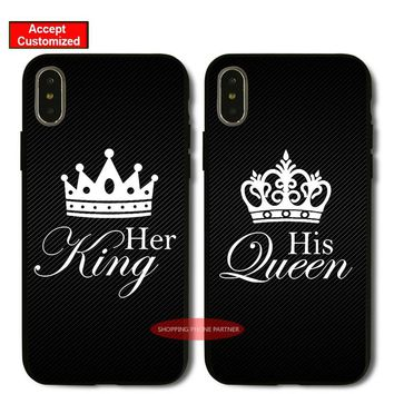 King Queen Lover Case for Samsung Galaxy S6 S7 S8 S9 Edge Plus Note 8 9 Cover for iPhone 5 5S SE 6 6S 7 8 Plus X XS Max XR