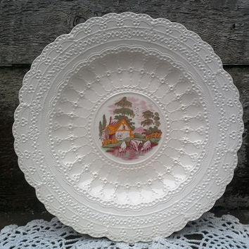 "Spode Jewel COW Plate, 9"" Serving, Dinnerware, Red/Pink Transferware, Farm Animals, Wall Decor, Grazing Cows and Cottage, Kitchen Decor,"