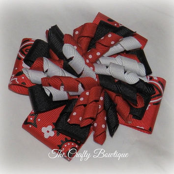 Bandana ~ Layered Korker Hair Bow ~ Black & Red ~ Western Cowgirl ~ Polka Dot ~ Big Hair Bow