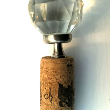 Crystal Wine Bottle Cork - Round Diamond Crystal and Brushed Silver Bottle Stopper