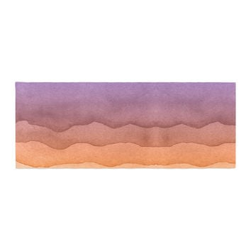 "Kess Original ""Ombre Sunrise"" Orange Watercolor Bed Runner"